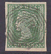 1854 India 2a green used in Burma with B5 Akyab postmark.