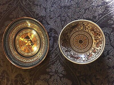 Greek Copper Wall Hanging Plate And Ceramic Bowl