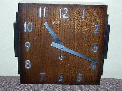 Large Vintage 1930s Art Deco Wooden Wall Clock British Movement Spares Repairs