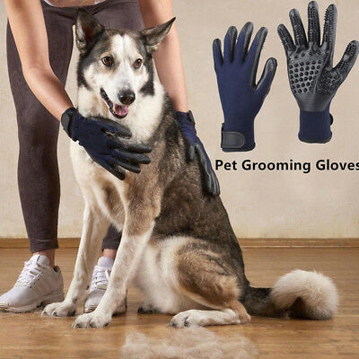 1Pair Pet Dog Cat Horse Grooming Hair Remover Bathing Shedding Combing Gloves KI