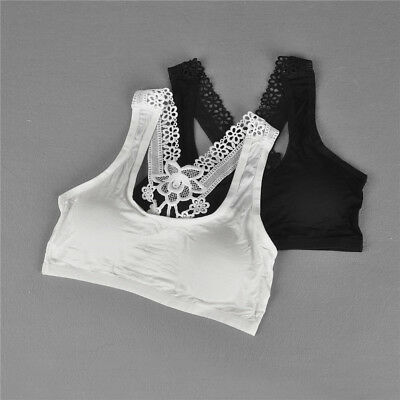 Young Girls Bra Lace Puberty Girl Underwear Wirefree Bra for Teens Vest 9UK
