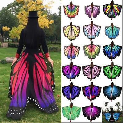 AU Fabric Soft Butterfly Wings Shawl Fairy Ladies Nymph Pixie Costume Accessory