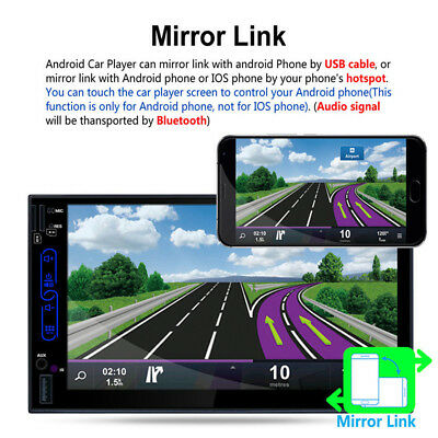 """2DIN Car MP5 USB Player Bluetooth 7"""" TFT Touch Screen GPS WIFI Stereo AM Camera"""