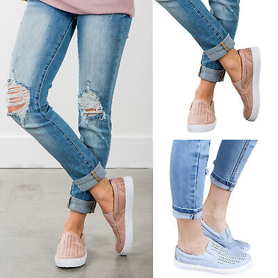 Womens Summer Platform Sneakers Hollow Out Loafer Shoes Slip On Breathable Low