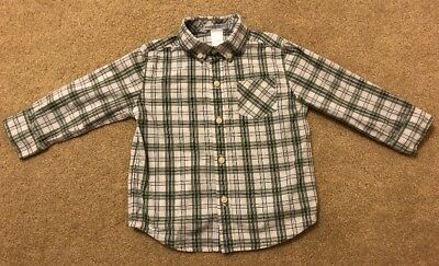 JANIE AND JACK Boys Green Plaid Button Up Shirt Size 18-24 Months