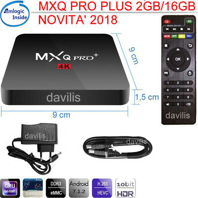 2018 Smart TV BOX MXQ PRO PLUS Android 7.1 ROM 2GB/16GB+Mini Tastiera Senza Fili