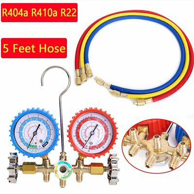R404a R410a R22 AC A/C Manifold Gauge Set 5FT Colored Hose Air Conditioner TO