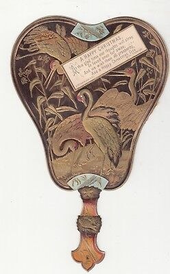 A Happy Christmas Gold Fan Water Birds Embossed Diecut Vict Card c1880s