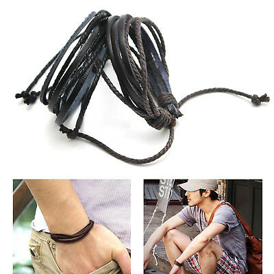 Wrap Jewelry Handmade Men Boys Leather Braided Surfer Wristband Bracelet Bangle
