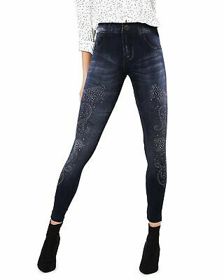 Pantaloni Donna Denim Leggings con Strass Aderenti Push up GIROGAMA 8105IT
