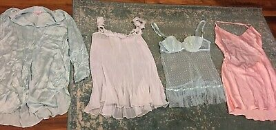 Lot 4 Victoria's Secret Negligees Pink, Blue, White, Wedding -Medium