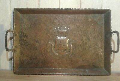 Antique French arts and crafts 'Salies de Bearn' hand made copper tray