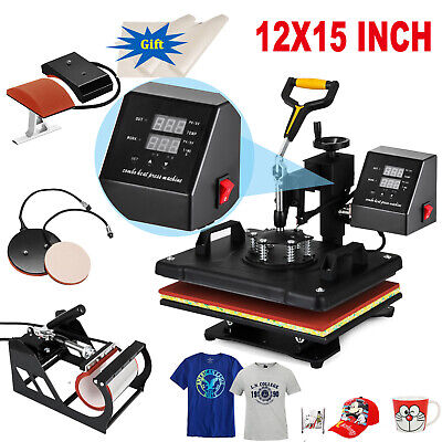 "5IN1 15""x12"" Combo T-Shirt Heat Press Transfer Printing Machine Swing Away"