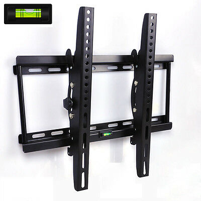 "Tilt Monitor LED LCD HD VESA TV Wall Mount Bracket 26 32 39 42 50 55"" air level"