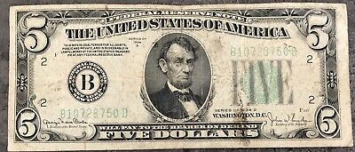 USA 5 Dollar Federal Reserve Note Series 1934 D Selten District B Banknote #8480