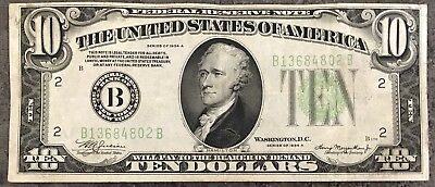 USA 10 Dollar Federal Reserve Note Series 1934 A District B Banknote #8504