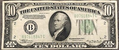 USA 10 Dollar Federal Reserve Note Series 1934 A District B Banknote #8499