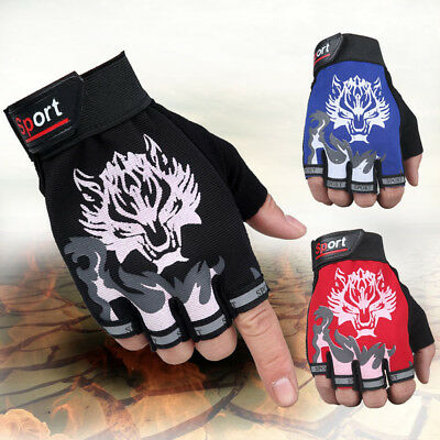 1 Pair Riding Wolf Gloves Cycling Bike Half Finger Motorcycle Bicycle Motocross