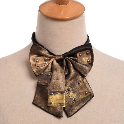 Vintage Steampunk Faux Iron Plate Stud Bowtie Party Costume Rust Bowtie Neckwear