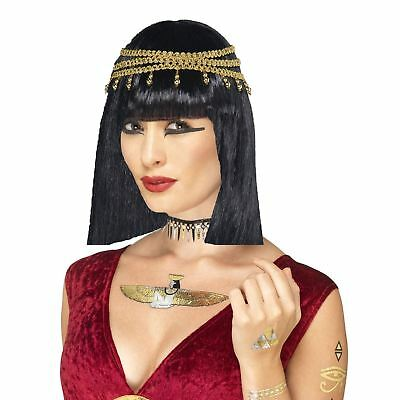 Ancient Egyptian Cleopatra Goddess Wig & SFX Metallic Symbol Tattoos Body Kit