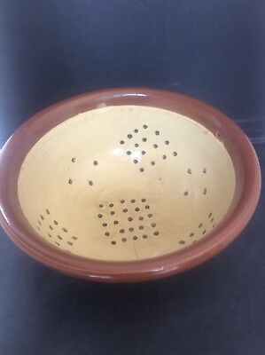 Antique Vintage Astoneware Strainer Colander Glazed Pottery Kitchenalia
