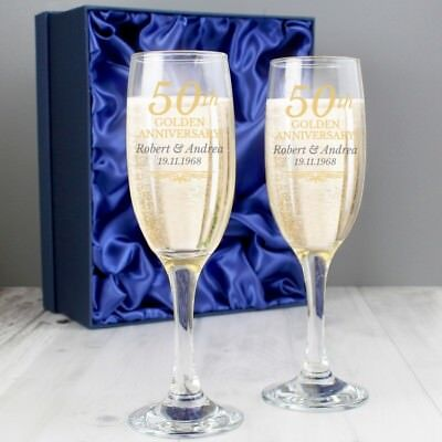Personalised 50th WEDDING ANNIVERSARY CHAMPAGNE FLUTES Gift Box Golden Wedding