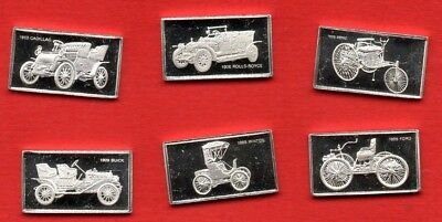 6 Sterling Silver Ingots Featuring Classic Cars. Approx 1.66 Grams Each.