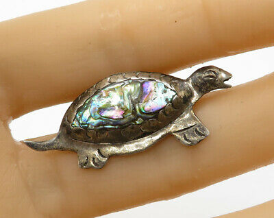 MEXICO 925 Silver - Vintage Turtle Mother Of Pearl Brooch Pin - BP1632