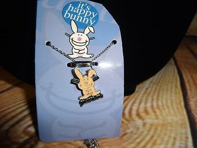 "Jim Benton Happy Bunny Charm Pendant Necklace ""Your'e So Dumb"" Pale Pink"