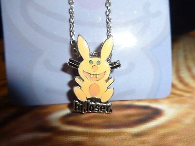 "Jim Benton Happy Bunny Charm Pendant Necklace ""Hi Loser"" Pale Pink"