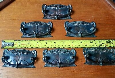 6 x ANTIQUE EDWARDIAN ARTS AND CRAFTS ART NOUVEAU CUPBOARD DRAWER METAL HANDLES