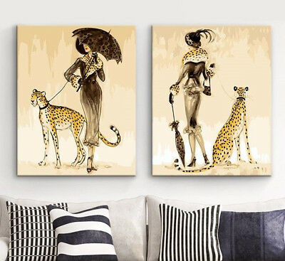 Set of 2 Framed Acrylic Painting by Number Kit Woman and Leopart Canvas Wall Art