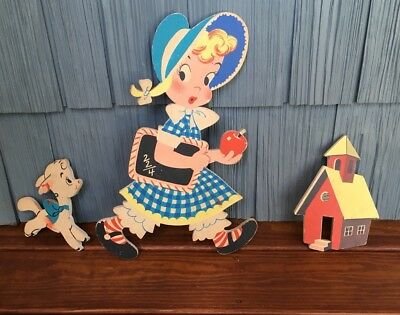 "Vtg 1950s Set Of 3 ""Mother Goose"" Mary Had A Little Lamb Pin Ups, Dolly Toy Co"