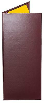 "MENU COVERS BURGUNDY CASEBOUND DOUBLE PANEL - 2-VIEW - 4.25"" x 14"""