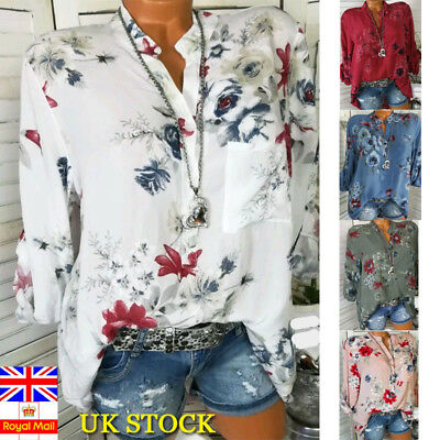 Plus Size Women Retro Floral Blouse Baggy Tops Summer Casual V Neck T Shirt 6-24