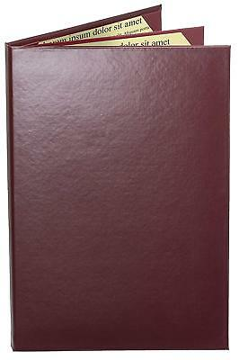"MENU COVERS BURGUNDY CASEBOUND TRIPLE PANEL - 4-VIEW - 8.5"" x 11"""