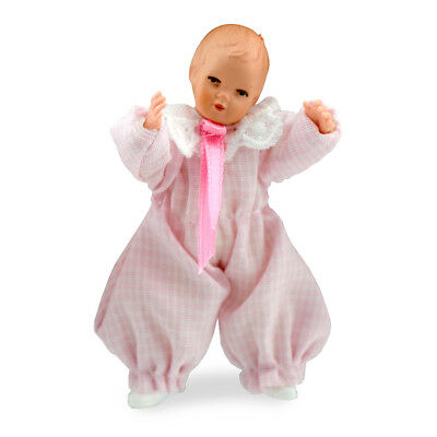 Tiny Baby in Pink Sleeper Dollhouse Miniature 1:12 scale Children CACO