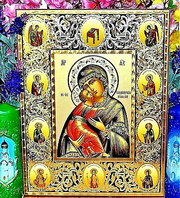 Mother of God Vladimirskaya Russian Orthodox Icon Silver Gold embossed Big size
