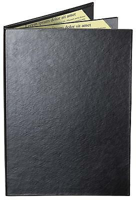 "MENU COVERS BLACK CASEBOUND TRIPLE PANEL - 4-VIEW - 8.5"" x 14"""
