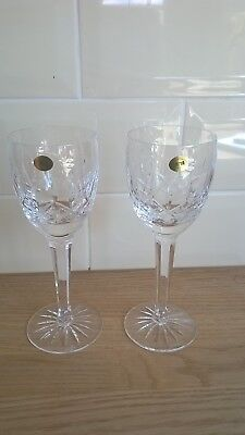 Immaculate Pair of Signed Tyrone Crystal Wine Glasses Roses Design 19cm  2 of 6
