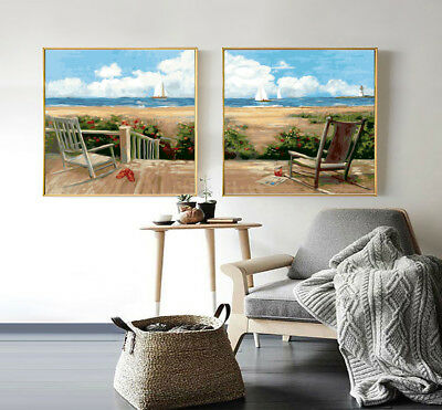 Set of 2 Framed Acrylic Painting by Number Country holiday A0 Canvas Wall Art