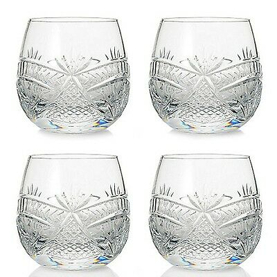 4 New Waterford Crystal Seahorse Nouveau Double Old Fashioned Glasses Nib