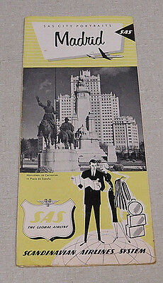 1960's Scandinavian Airlines System Madrid Spain tourist pamphlet