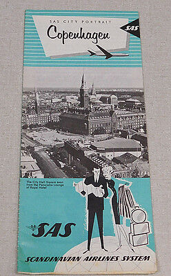 1960's Scandanavian Airlines city portrait map Copenhagan Denmark