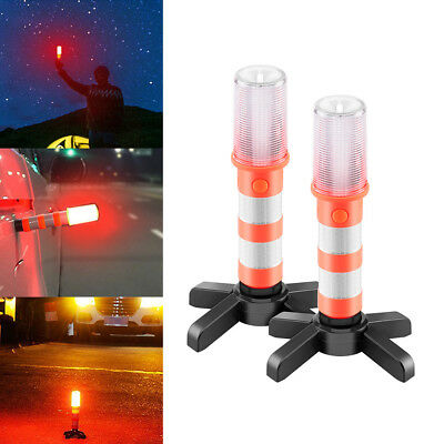 2 LED Emergency Road Flares Red Roadside Beacon Safety Strobe Light Warning Sign