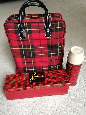 Vintage Car-Snack Picnic Set Red Plaid Sportsman Thermos, Lunch Box