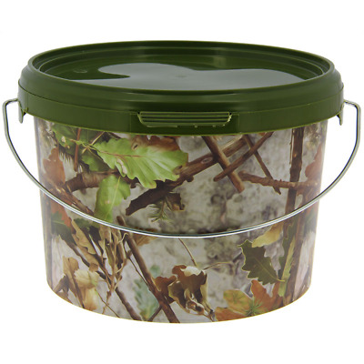 x10 Camo 3L Litre NGT Fishing Bait Buckets with Metal Handle