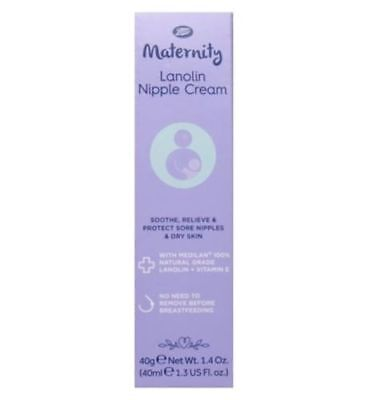 BOOTS MATERNITY LANOLIN NIPPLE CREAM SORE & CRACKED SKIN BREASTFEEDING 40ml