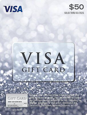 New $50 Card Visa Gift Online Valid Activated (Non-Reloadable) Free Shipping