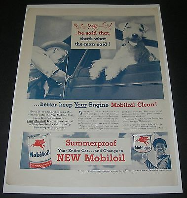 Print Ad 1946 MOBIL MOBILOIL Airedale Dog he said that Pegasus Flying Horse.